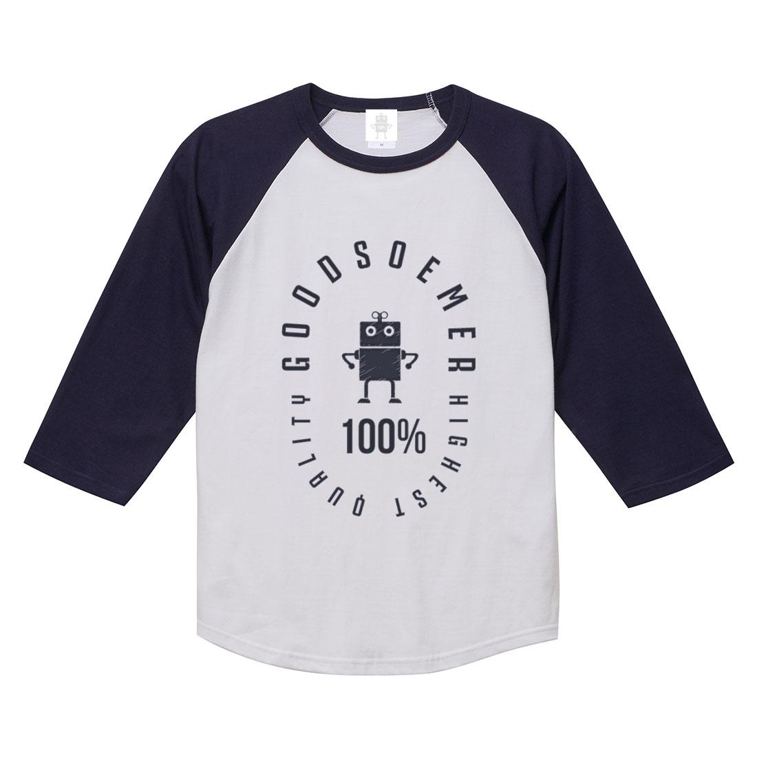 ラグランスリーブTシャツ ホワイト ネイビー