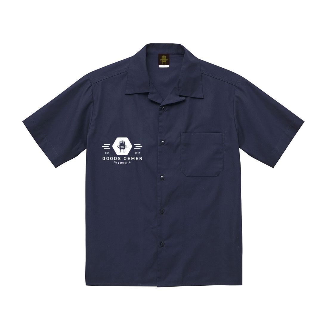 オープンカラー ワークシャツ ネイビー