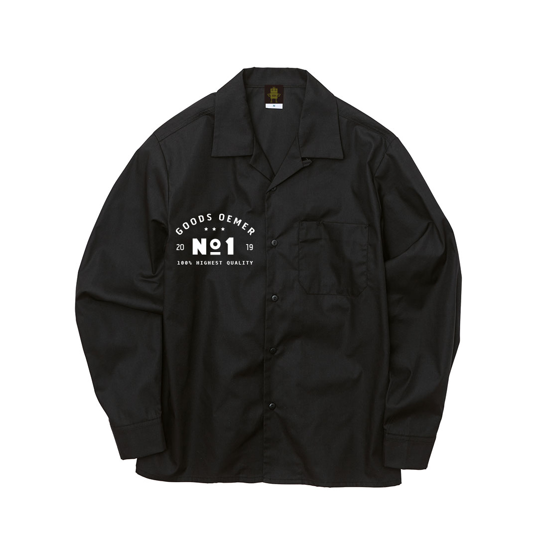 オープンカラー ワークロングシャツ ブラック